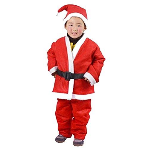 Preisvergleich Produktbild RotSale® 4-teilig Nikolaus Anzug für Junge S Kostüm Weihnachten Suite Nikolauskostüm Weihnachtsmannkostüm