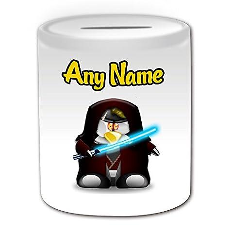 Cadeau personnalisé–Anakin Skywalker Boîte argent (Design Pingouin Film caractère Thème, blanc)–N'importe Quel Nom/Message sur votre Costume unique–Movie Superhero Héros Jedi Sabre Laser Star Wars Sabre Laser Darth