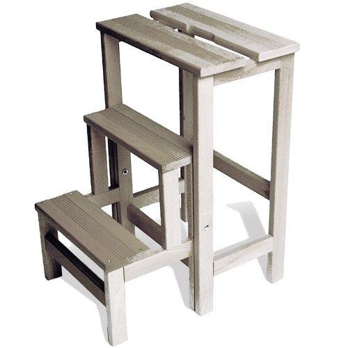 Radius - Hockerleiter, Tritt- kleine Leiter, Trittleiter, Klapphocker - Holz - Buchenholz - Weiß lasiert
