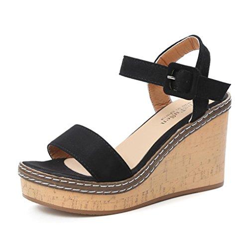 Hot Sale!Sandalen Damen, Sonnena Mode Frauen Fisch Mund Plateau High Heels Keil Sandalen Schnalle Hang Sandalen Solid/außen/Keile/Schnalle/Knöchel/Peep Toe/Fashion (Sexy Schwarz, 39)