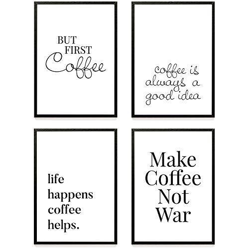 Heimlich ® Premium Poster Set | Stilvolles Set mit passenden Bilder in Schwarz-Weiß | 4 Stück in DIN A4 (21x30cm) | auch mit Bilderrahmen » Kaffee «