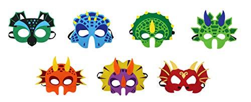 Cloud Kids 7pcs Kinder Tiermasken Halbmasken Dinosaurier Masken Animal Masks für Halloween Kaneval, Cosplay und Fasching Mehrfarbig
