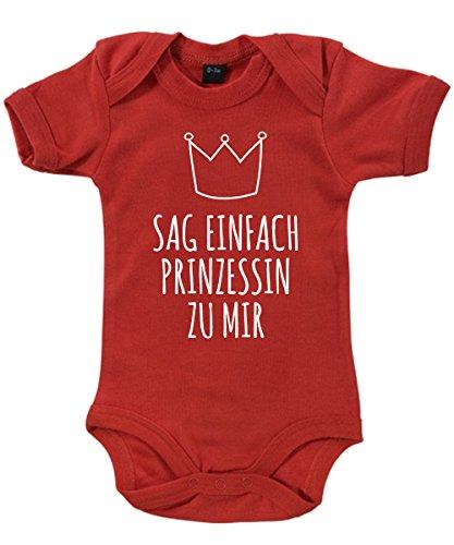 ::: SAG EINFACH PRINZESSIN ::: Babybody Rot, Größe 3/6 Monate