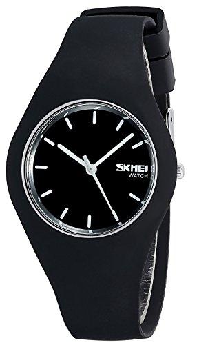 Armbanduhr für Herren und Damen,Schwarz Zifferblatt und Silikon Armband Unisex Uhren