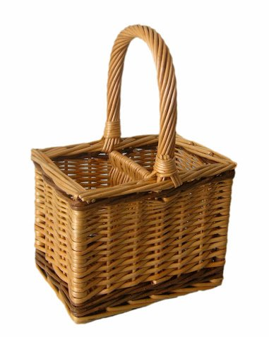 Bottle Carrier or Basket, 2 Bottle, Steamed Willow, Wicker, 2 tone