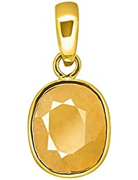 Accurate Traders Original Pukhraj Stone Ashtadhatu Pendant 5.5 Ratti (5 carats) Rashi Ratna Natural and Certified by GEMOLOGICAL LABORATORY OF INDIA (GLI) Yellow Sapphire Precious Gemstone Asht Dhatu Locket Unheated and Untreated Top Quality Gems for Astrological Purpose