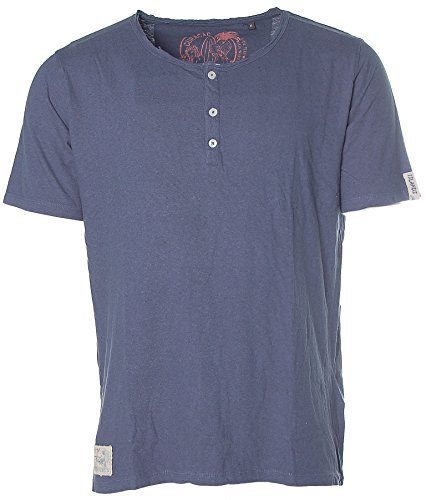 Kitaro Herren Kurzarm Shirt T-Shirt Rundhals Leinenanteil Curacao Island Prussian Blue