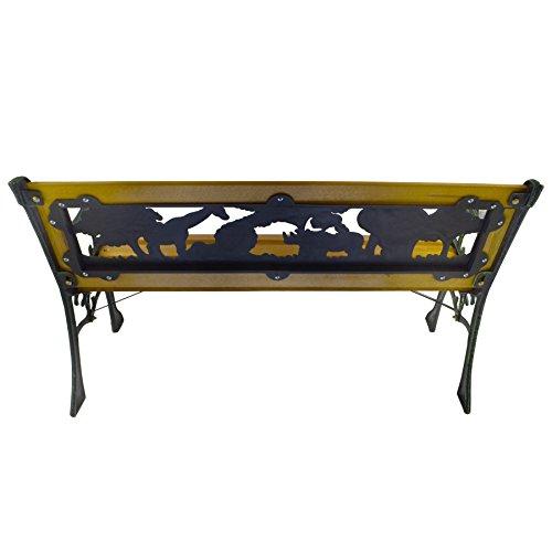 Kids Wooden Garden Furniture Bench Safari Park Iron Legs Patio Decor Seat