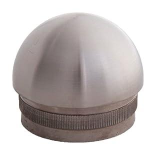 Edelstahl Endkappe halbrund 42,4 / 2,0 mm V2A mit Rändelung (S011206)