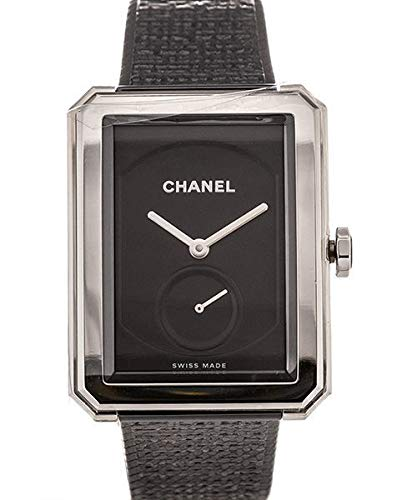 CHANEL boy-friend nero guilloche Dial orologio donna mano ferita H5201