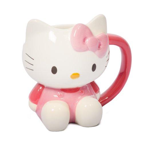 Hello Kitty 3d de taza de novedad–Taza, blanco y rosa