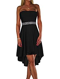 1339c2e5384b ALZORA Damen Kleid Farbauswahl Bandeau Top Abendkleid Edel Cocktail Party  Ballkleid mit Spitze Sommer Rock Strandkleid Tanzkleid,…