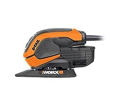 Worx WX648 Schleifer 55W, 230V - Ergonomischer Handschleifer zum Schleifen auch an schwerer zugänglichen Stellen - DUSTSTOP Mikrofilter für sauberes Arbeiten
