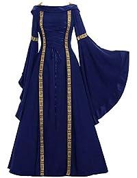 Mujeres Vestido de Traje Medieval Renacentista Vestido Largo de Noche de Estilo Victoriano Gotico Vestidos Maxi con Manga Larga Cosplay de Halloween
