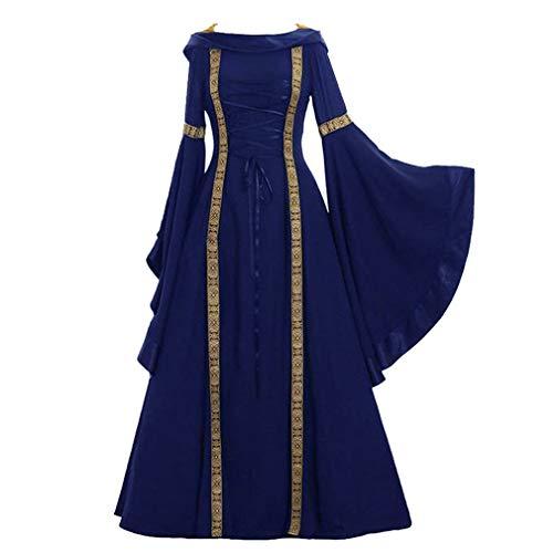 Damen Trompetenärmel Mittelalter Kleid - Lace-up Hooded Palast Kleid Gothic Retro Renaissance Cosplay Maxikleid Party Kostüm Maxikleid S-5XL