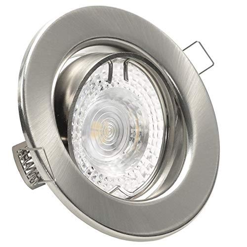SONDERAKTION Decken Einbaustrahler DECORA; 230V GU10; 1er Set inkl. SMD LED 3,3W = 35W (Warm-Weiß); 275 Lumen; schwenkbar; EDELSTAHL OPTIK gebürstet; Spot Einbauleuchten; Leuchtmittel austauschbar -