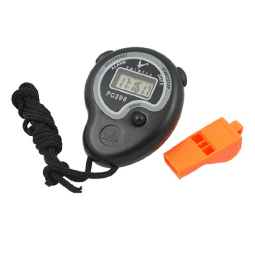 sourcingmap® Coach PE Hourly Chime Chronograph Stopwatch Timer Whistle 2 in 1 Black Orange