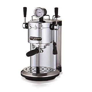 Ariete 1387/20 Kaffeevollautomat Novecento Espresso, Cappuccino, Vano Scalda Becher, 1100 W, 2 Tassen, 15 bar, Chrom, silber/schwarz