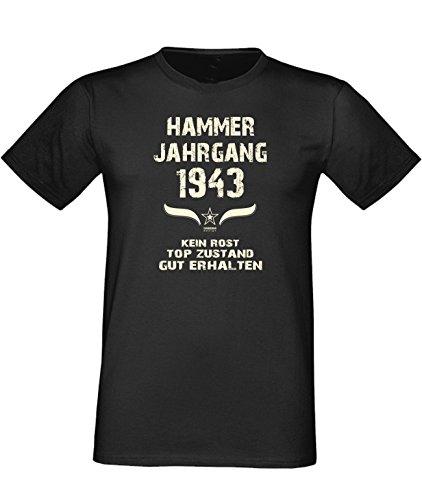 Humorvolles Happy-Birthday Fun-t-shirt Geschenk für den liebsten Menschen mit Sprüche-Motiv: zum 73. Geburtstag Hammer Jahrgang 1943 Farbe: schwarz Schwarz