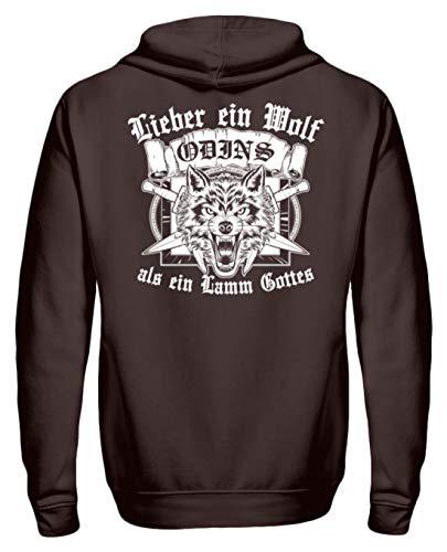 PlimPlom Lieber EIN Wolf Odins Als EIN Lamm Gottes Wikinger Vikings Walhalla Germanen Pullover - Unisex Kapuzenpullover Hoodie -XL-Schokolade -