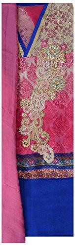 Suman Fasion Sarees Women's Chanderi Dress Material (Su000017_Chiffon Pink Blue