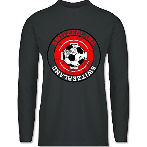 Shirtracer Fußball-WM 2018 - Russland - Switzerland Kreis & Fußball Vintage - Herren Langarmshirt Dunkelgrau