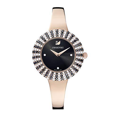 Swarovski Damen Crystal Rose Armbanduhr\n für Frauen, schwarz, Metallarmband, rotgold glänzendes PVD-Finish 5484050