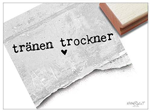 Stempel -Textstempel TRÄNEN-TROCKNER, Taschentuch-Stempel für die Freudentränen, Hochzeit Karten Gastgeschenke Tischdeko - von zAcheR-fineT