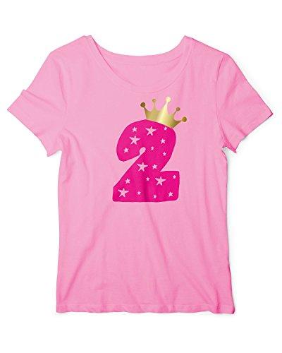 RoughTex Mädchen T-Shirt Geburtstag 2 Jahre | Tshirt mit Aufdruck Zahl und Goldene Krone | Lustige Geschenk-Idee 2. Kinder-Geburtstag Babypink-Pink 92