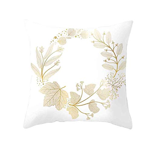 R-Cors Gold Plant Printed Polyester Pillow Case Cover Sofa Cushion Cover Home Decor Platz Dekokissen Fall Kissenbezüge für Couch Wohnzimmer Schlafsofa mit unsichtbaren Reißverschluss -