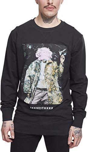 Machine Gun Kelly Herren Pullover MGK Crewneck mit Portrait-Print des Rappers Sweatshirt, schwarz, S Band Crewneck Sweatshirt