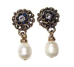 Idea Regalo - Eleganti orecchini in zaffiro blu scuro con perla d'acqua dolce bianca in ottone placcato oro fatti a mano pezzo unico made in Italy