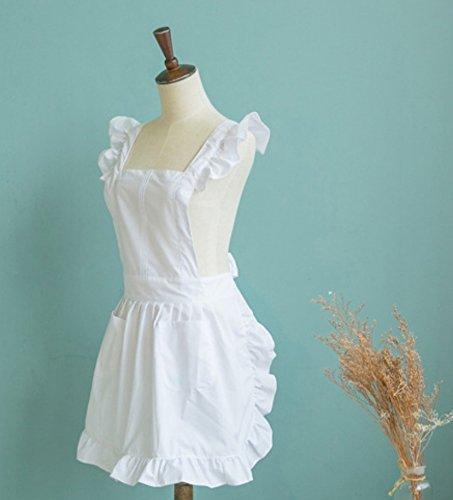 Viktorianischen Stil Spitze Küchenschürze Schürze Kostüm Pinafore Taschen - Weiß