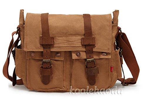 koolehaoda Canvas Unisex-Kreuz-Körper-einzelne Schulter-Laptop-Tasche mit Durable Strap-Größe 36x12x28cm - Kaffee 2138-Khaki