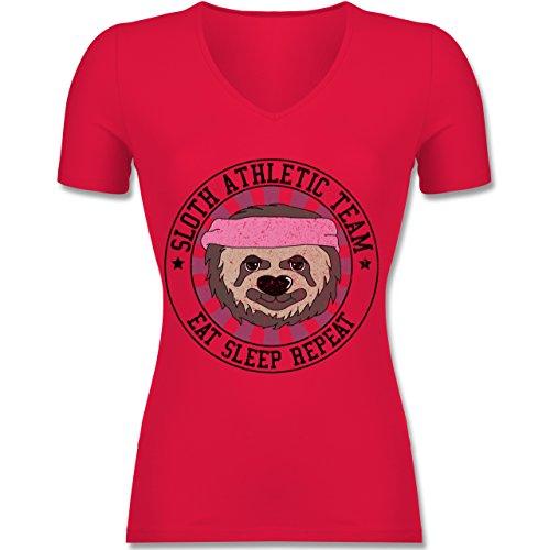 Statement Shirts - Sloth Athletic Team Faultier - Tailliertes T-Shirt mit V-Ausschnitt für Frauen Rot