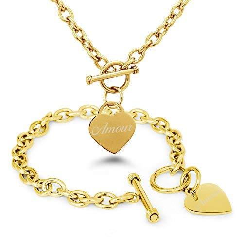 Vergoldet Edelstahl Liebe (auf Französisch) mit Gravur Herz Charme Armband und Halskette Set