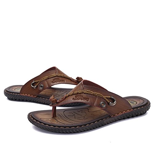 SITAILE Herren Sommer Flache flip flop Hausschuhe Pantoletten Zehentrenner Sport Outdoor Sandalen Schuhe Dunkelbraun