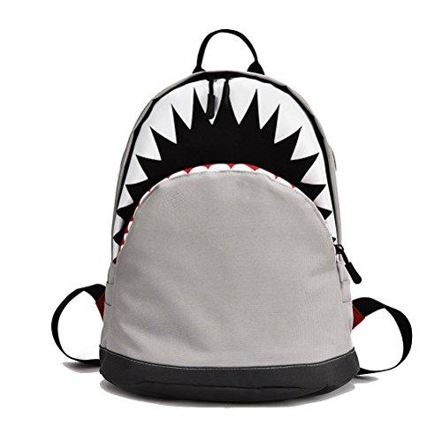 Uniyoung Schultaschen für Jungen Mädchen Kinder Shark Rucksack Reisetaschen Rucksack mit Brustschnalle für Grundschüler -für 6-15 Jahre alt / Grau