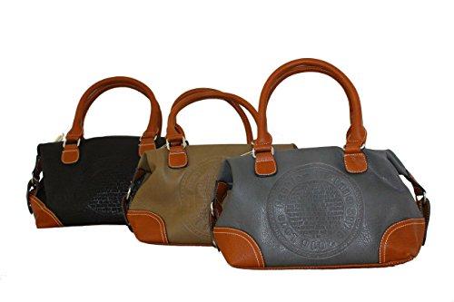 Tasche Damen Schwarz Bags Messenger Schwarz Schwarz Schultertasche Grau JGL Beige Kunstleder RRdnrgq