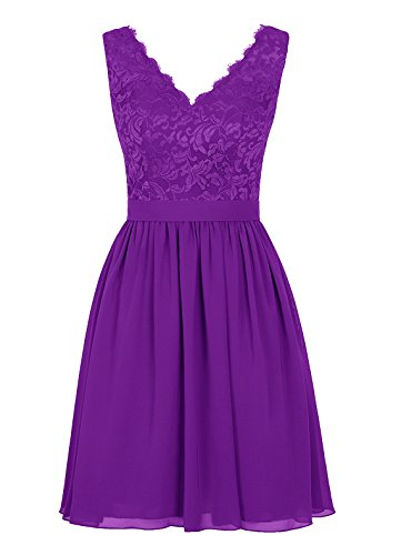 Dresstells Abiballkleider Damen Knielang Homecoming Kleider Abendkleider Purpur