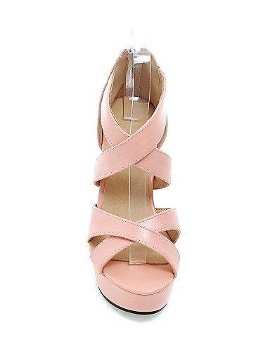 UWSZZ IL Sandali eleganti comfort Scarpe Donna-Sandali-Casual-Tacchi-Quadrato-Finta pelle-Nero / Rosa / Bianco White
