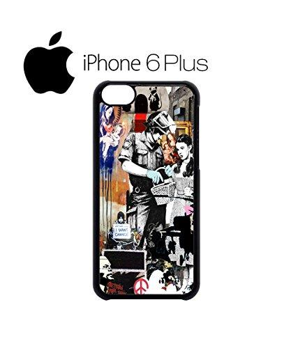 Banksy Street Art Graffiti Swag Mobile Phone Case Back Cover Coque Housse Etui Noir Blanc pour iPhone 6 White Blanc