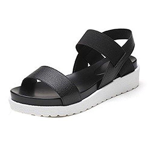 Damen Plateau Sandalen, FNKDOR Comfort Offene Outdoor Schuhe (34, Schwarz)