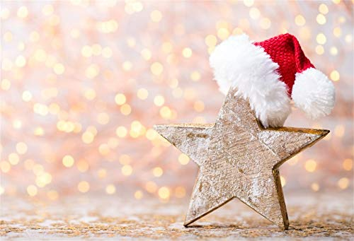 YongFoto 3x2m Vinyl Foto Hintergrund Blur Bokeh Glitzer Holzstern rotem Weihnachtsmann Hut Neujahr Weihnachten Fotografie Hintergrund für Photo Booth Baby Party Banner Kinder Fotostudio Requisiten