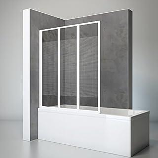 Schulte Duschwand Well, 127 x 140 cm, 3-teilig faltbar, 3 mm Sicherheitsglas Quattro, alpin-weiß, Dusch-Abtrennung für Wanne