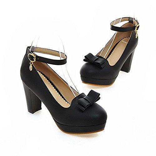 VogueZone009 Femme à Talon Haut Couleur Unie Boucle Matière Souple Rond Chaussures Légeres Noir