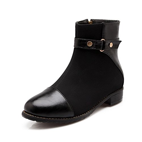 allhqfashion-womens-zipper-round-closed-toe-low-heels-blend-materials-low-top-boots-black-40