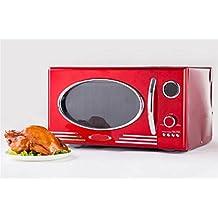 WX Metal Rojo Clásico Horno De Microondas Retro , Red , 48.3 X 35.6X 28Cm,red,48.3 x 35.6x 28cm
