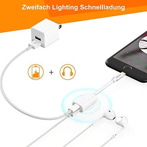 2 in 1 Lightning AUX Adapter iphone Adapter Splitte Kopfhörer Jack Adapter für iPhone Xs /Xs Max / iPhone XR /iPhone X / iPhone 8/8 Plus / iPhone 7/7 Plus. Kompatibel mit iOS 11/12 Oberhalb - 4