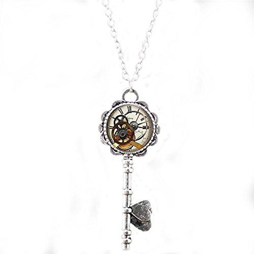 qws Steampunk Uhr, Schlüsselanhänger, Steampunk-Uhr und Stoppuhr, Geschenk für Ihn, Steampunk-Schmuck, Schlüsselanhänger, Kunst-Geschenke für Sie